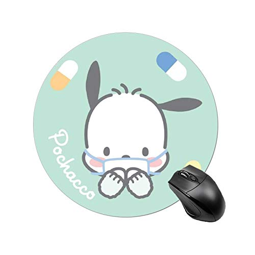 Poch-acco Mouse pad with Wrist Support Anime Gaming Cute Large Black Anti Slip Rubber for PC Waterproof Round Mouse Mat