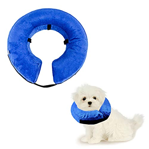 QEEQPF Funda hinchable para mascotas, collar de protección lavable para perros pequeños y gatos, collar suave con hebilla ajustable (M).