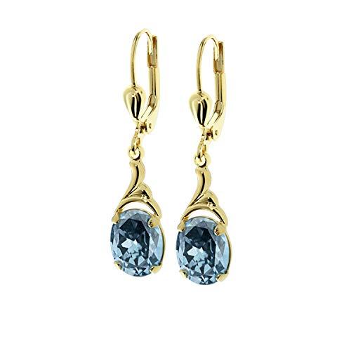 NKlaus Paar 333 Gold gelbgold Tropfen Ohrhänger Brisur synt. Aquamarin Ohrringe Damen 7728