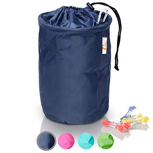 Amazy XXL Wäscheklammerbeutel – Extra-robuster Klammerbeutel mit Karabinerhaken zur Aufbewahrung von bis zu 200 Wäscheklammern für drinnen und draußen (Schwarz | 30 x 20 cm)