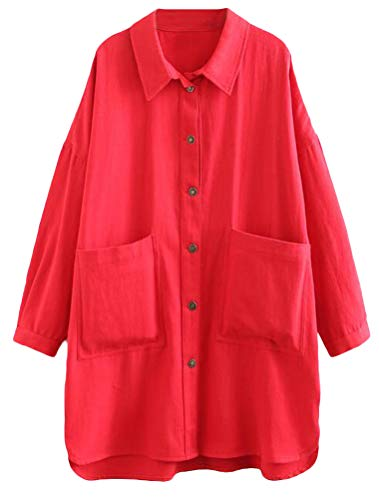 FTCayanz Women's 100% Cotton Blouse Shirts Casual Lightweight Jacket Outfit with Pockets Red XXL