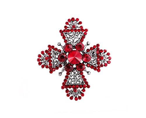 Broche de Cruz de diamantes de imitación rojo barroco, broches grandes de Metal para mujer, alfileres Vintage, ropa, bufanda, Clip, joyería