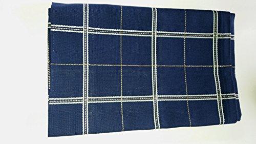 Tischdecke 80 x 80 cm m. vorgewebten Aidafeldern Fb. blau m. Lurex gold, Rico Design, Hardanger, Perlgarn