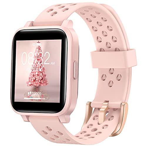 Montre Connectée Femme, Hommie Smartwatch à Écran Tactile de 1,3 Pouce, Montre de Fitness,Moniteur de Fréquence Cardiaque au Poignet, Montre Intelligente Rose