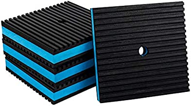 BJADE'S 4 Pack Anti-Vibration Isolation Rubber Pads with 3/8'' Pre-drill hole,4 x 4 x 7/8 inch Mechanical Vibration Damping Pads for HVAC,Air Compressor,Air Conditioner,Washer and Dryer