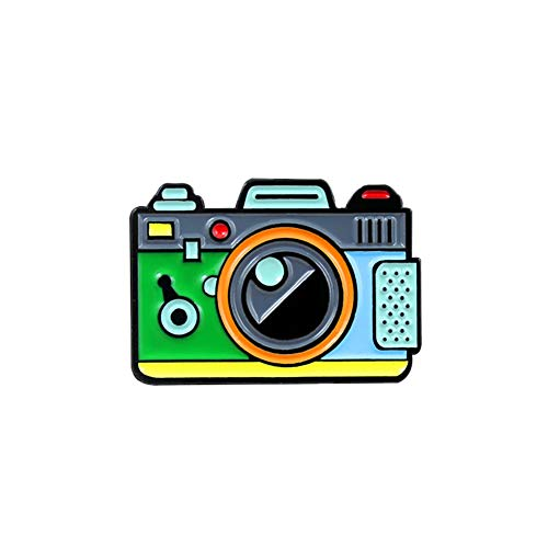 Oce180anYLV Creative Broche Pin Cartoon Multicolore Appareil Photo Badge Collier Revers Broche Pin vêtements Bijoux Decor-Vert