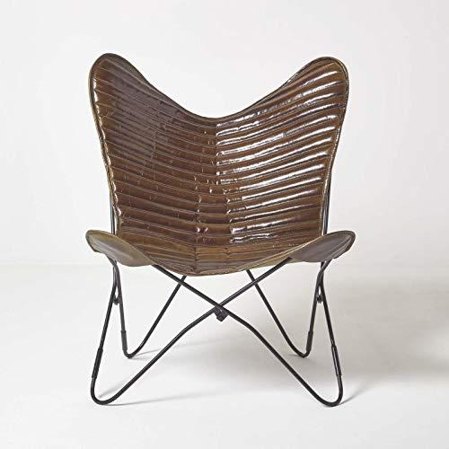 Homescapes Schmetterlingsstuhl, Schmetterlingssessel aus Leder, Butterfly-Sessel in Braun mit Streifen, Lederstuhl aus Echtleder, Ledersessel, Ledermöbel, Stuhl aus Leder, Leder-Stuhl