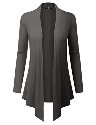 BH B.I.L.Y USA Women's Open Front Drape Hem Lightweight Cardigan with Pockets Charcoal XX-Large
