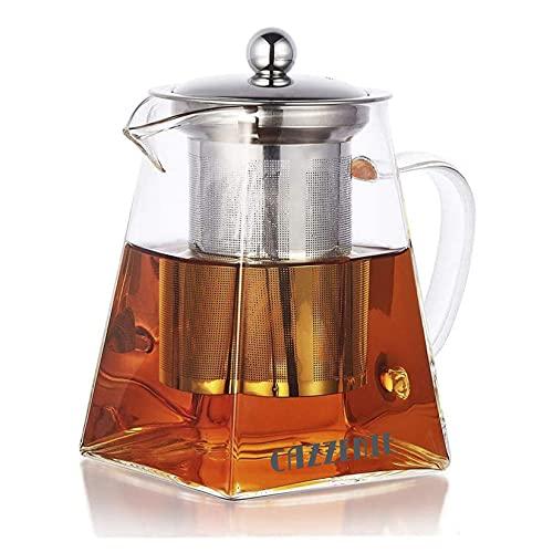 Cazzenie Tetera con infusor amplio de 750 ml . Tetera de vidrio ideal para tisanas frutales, té y bebidas calientes. Tetera con infusor de te para 2 tazas. Tetera para te. Glass...