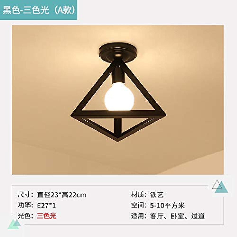 Agorl Nordische Gangflurlampe kreative Balkonlampe einfache moderne Schmiedeeisendeckenlampe, ein Dreieck schwarzes triFarbe Licht