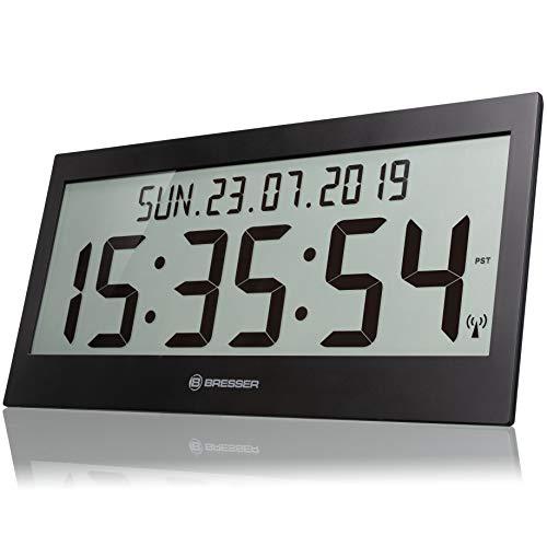 Bresser Wanduhr LCD Jumbo DCF Funkuhr mit extra großen Ziffern, schwarz