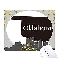 オクラホマアメリカ 米国のマップのシルエット クリスマスイブのゴムマウスパッド
