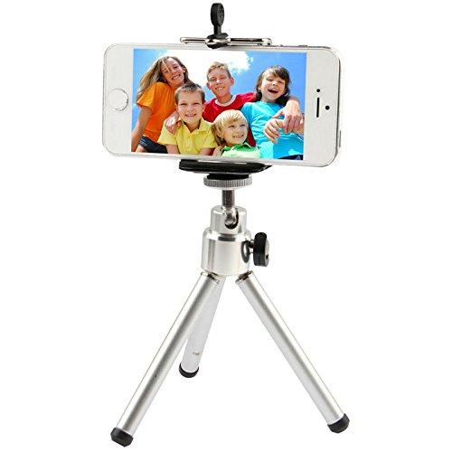 Dmtrab para Trípode Giratorio portátil de 360 Grados, para iPad, iPhone, Galaxia, Huawei, Xiaomi, LG, HTC, Otros teléfonos Inteligentes (Plata)