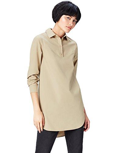 find. Long Line Camisa para Mujer, Marrón (Khaki), 42 (Talla del Fabricante: Large)