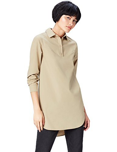 find. Women\'s Dress in Tunic Shirt Shape with Poplin, Brown (Khaki), 18 (Manufacturer size: XX-Large)