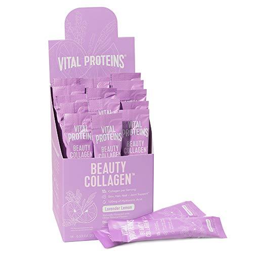 Vital Proteins Beauty Collagen Peptides Powder Supplement for Women, 120mg of Hyaluronic Acid - Enhance Skin Elasticity & Hydration, 12g of Collagen Per Serving, Lavender Lemon - Stick Packs 14ct