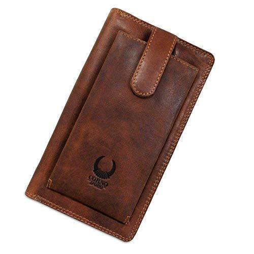 XXL Geldbörse aus Leder I Handgemachte Reise-Brieftasche für Damen & Herren Echtleder I Travel Wallet für Reiseunterlagen I Vintage Tasche mit TÜV-zertifiziertem RFID Schutz I Braun I 9118 Corno d'Oro