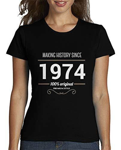 latostadora - Camiseta Making History 1974 White para Mujer Negro S