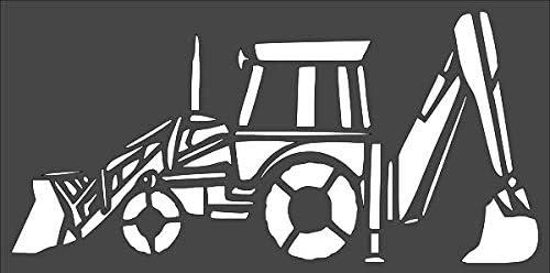 1- 6x12 inch Custom Cut Stencil TD-59 Backhoe Arts Mesa Mall Super-cheap Tractor an