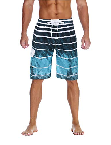 unitop Men's Board Shorts Quick Dry with Lining Lake Blue 34