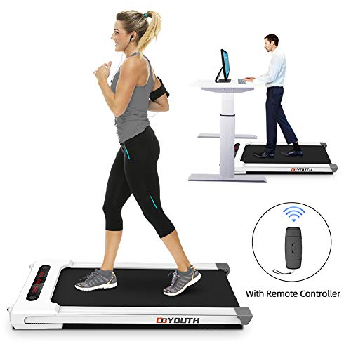 Goyouth 2 in 1 Under Desk Electric Treadmill Motorized Exercise Machine with Wireless Speaker, Remote Control and LED Display, Walking Jogging Machine for Home/Office Use Treadmills