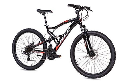 KCP 27,5 Zoll Mountainbike Fahrrad - MTB Attack schwarz - Vollfederung Mountain Bike Unisex für Herren, Damen oder Jungen, MTB Fully mit 21 Gang Shimano Schaltung und Zwei Scheibenbremsen