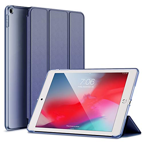 RKINC Case for New Ipad 9.7' 2017/2018, PU Leather Trifold Stand Slim Fit Smart Cover [Auto Sleep/Wake] with Hard Back Case for Apple iPad 9.7-Inch (2018/2017 Model, 6th/5th Gen)(Navy Blue)