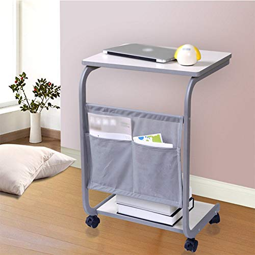 LLA eenvoudige nachtkastje kleine tafel wit dennen zwart walnoot luie tafel laptop tafel land type het kan verplaatsen bureau bed schrijven bureau dubbele laag 48 * 33 * 66,5 cm B