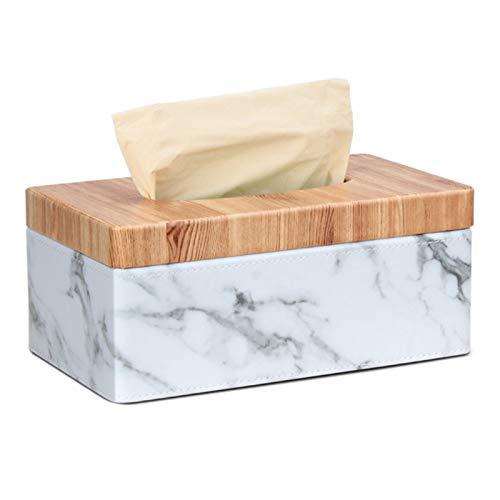 QAZX Caja Rectangular De Mármol De La PU del Grano De La Cubierta De Caja del Tejido Facial (Color : White)