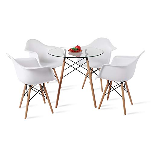 DORAFAIR Mesa de Comedor de Cristal Templado y 4 Sillón Tower Blanca, de Diseño Nórdico