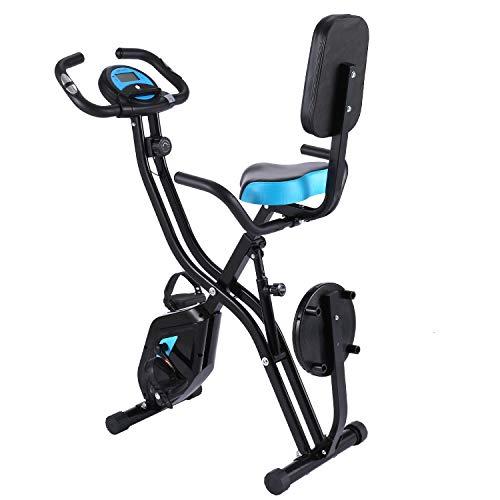 ANCHEER Bicicletta per Esercizio 10 Livelli di Resistenza Magnetica e Sedile Ampio e Confortevole, da Interni, Cyclette Pieghevole da Fitness Supporto per Tablet e Monitor Digitale (Nero)