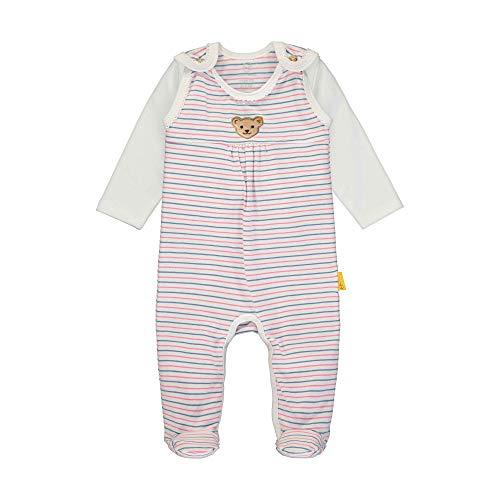 Steiff Baby-Mädchen Set Strampler + T-Shirt Langarm Bekleidungsset, Weiß (Bright White 1000), 68 (Herstellergröße: 068)