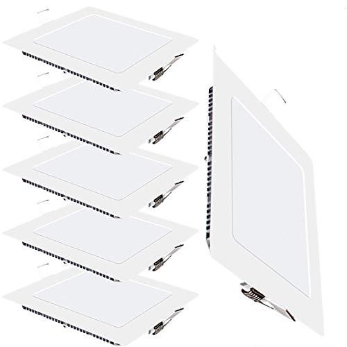 Preisvergleich Produktbild 6er-Pack LED Panel Licht 18W Quadratisch Ultra Slim Flat Einbauleuchte 4000K Neutrales Licht Innenbeleuchtung für Zuhause Wohnzimmer Schlafzimmer Badezimmer Büro Flur Flureinbauleuchte