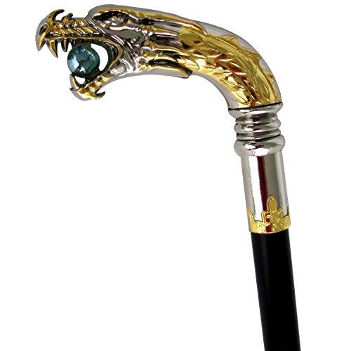 Treasure Gurus Silver Plated Dragon Head Cane Walking Stick