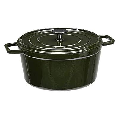 AmazonBasics Premium Enameled Cast Iron Dutch Oven, 5-Quart, Deep Hunter Green