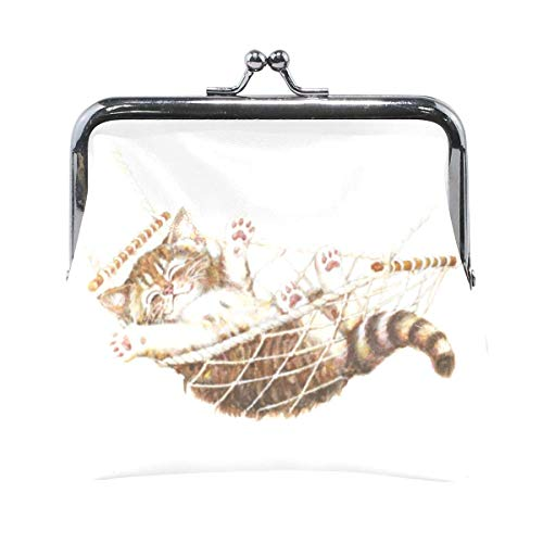 ZZAEO Watercolor Cute Lovely Kitten in Hammock Cute Coin Purse for Women and Girls Retro Money Pouch with Kiss-Lock Buckle Small Wallet Card Change Holder