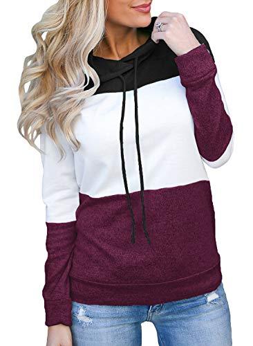 Topstype Women's Pullover Long Sleeve Fall Hoodies Color Block Tunics Loose Casual Sweatshirts