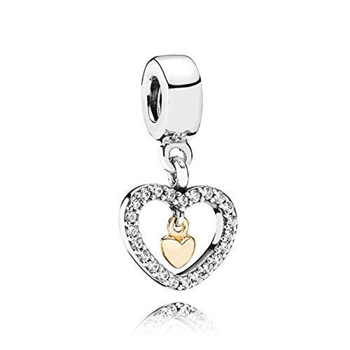 Auténtica Pandora 925 Cuentas De Plata Esterlina Diy Pearl Forever In My Heart Dangle Charm Fit Moda Mujer Pulsera Brazalete Joyería De Regalo
