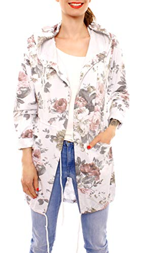 Easy Young Fashion Damen Cardigan Sweatjacke Lang Cotton Sweatparka mit Kapuze Geblümt One Size Hellgrau