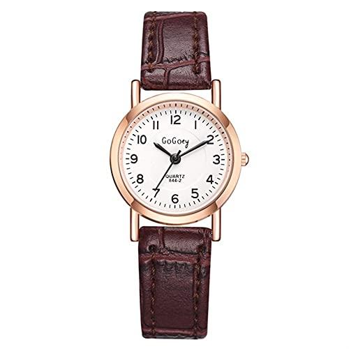 OWZSAN Damen Bambus Knoten Vintage Leder Frauen Kleine Uhren Designer Blau Zeiger Einfache Zifferblatt Fashion Damen Quarz Armbanduhren Digitaluhr (Größe : Red)