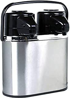 Coox 4L Double Twin 2 in 1 Air Pot Thermal Beverage Dispenser for Hot and Cold Drinks - Unbreakable Dual Capacity Stainless Steel Design with 2 Separate Compartments in 1 Easy to Carry Design