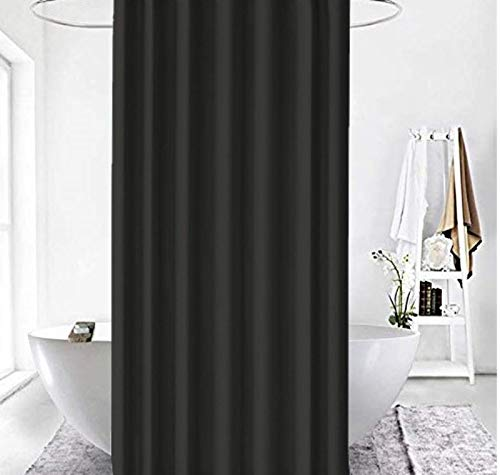 Zethome Cortina de Baño 120 x 200 cm Elegante Original Antimoho Impermeable Lavable Antibacteriana Poliester Tela con Anillas de Cortina Ducha Estiloso Bano Moderno (Negra)
