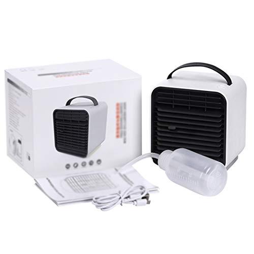 Mini Desktop Air Koeler Fan Draagbare USB Air Conditioner Met Night Light Mode Ingebouwde Water Tank 3-Speed Rustige Tafel Ventilator Voor Thuiskantoor,White
