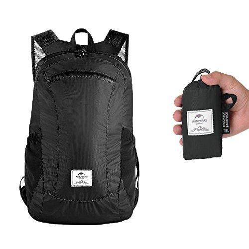 Faltbar Rucksack, leicht verstaubar, wasserabweisend, für Schule, Reisen, Sport, wasserdicht, extrem leicht, unisex, 18 l Schwarz Night Black