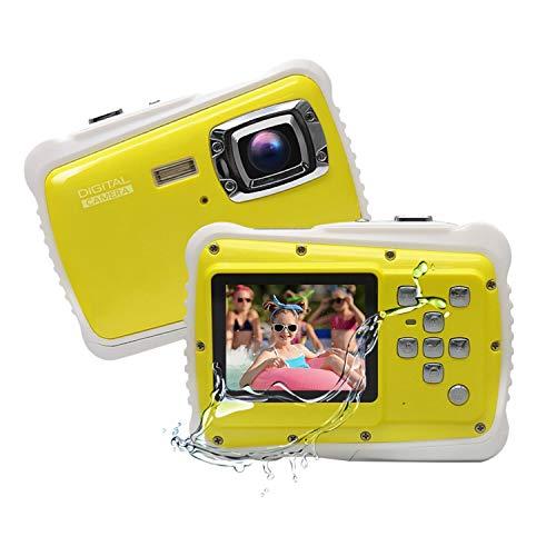 Funcam子供用 デジタルカメラ トイカメラ 3m防水機能付き 12MP画素 2インチスクリーン マイク内蔵スピーカー かわいい子供用トイカメラ 多種言語適用 日本語説明書 子供用カメラ 子供プレゼント 水中アクションカメラ (イエロー)