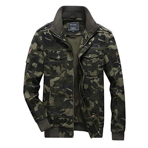 Men's Faux Leather Jacket Biker Cool Casual Area Leatherette Camouflage jacket men-green_M