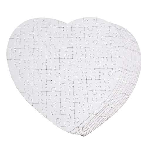 CURTT Puzzle vuoto, 10 pezzi, puzzle da personalizzare, fai da te, a forma di cuore, per trasferimento di prodotti bianchi, poster per stampa a sublimazione - Crea il tuo puzzle