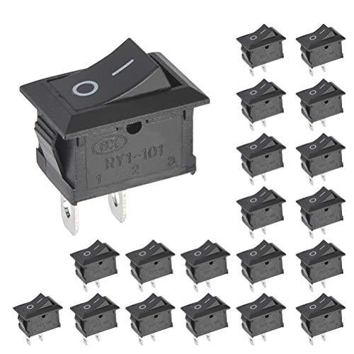 BUYGOO 20PCS Boton Interruptor Rocker KCD1-101 AC 6A/250V 10A/150V Mini Interruptores Basculantes para Barcos/Coche/Auto