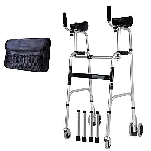 FHISD Andador, Ajustable para Ancianos con reposabrazos y Asiento para Ancianos discapacitados Suave y fácil de Limpiar, 4 Ruedas