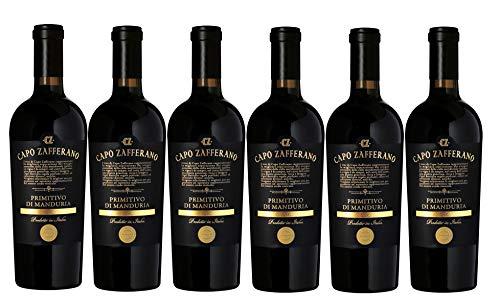 6er Vorteilspaket   Capo Zafferano Primitivo di Manduria DOC 2019   Rotwein aus Apulien   trocken   6 x 0,75 L